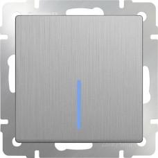Выключатель Cеребряный рифленый WL09-SW-1G-LED